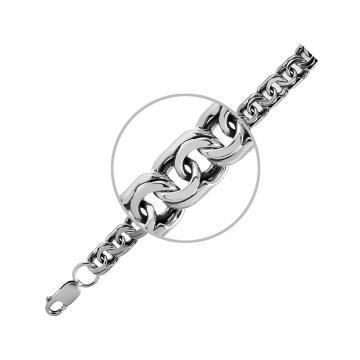 Браслет, плетение Бисмарк, из серебра