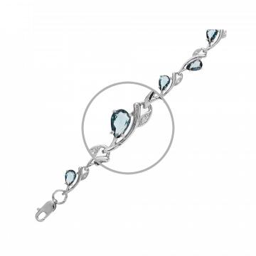 Браслет из серебра с ювелирными кристаллами и фианитами