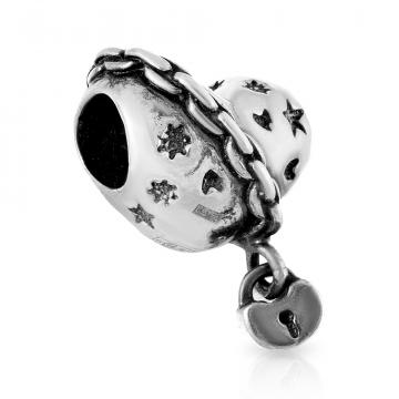 Подвеска-шарм Сердце на замке из серебра
