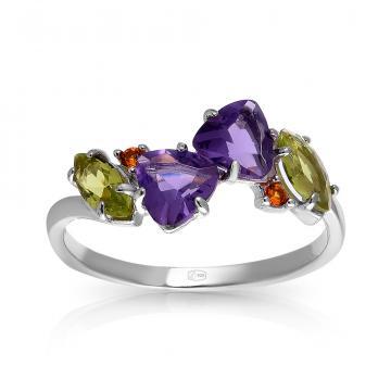 Кольцо из серебра с аметистом, хризолитом, цитрином и фианитами