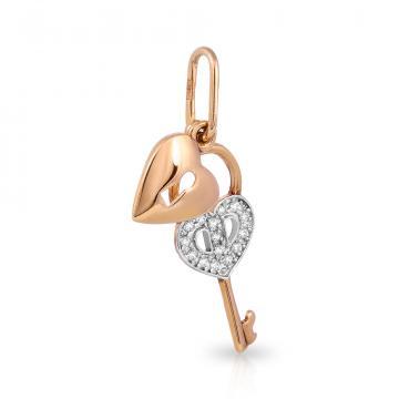 Подвеска Ключ с фианитами из серебра