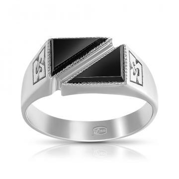 Кольцо-печатка из серебра фианитами