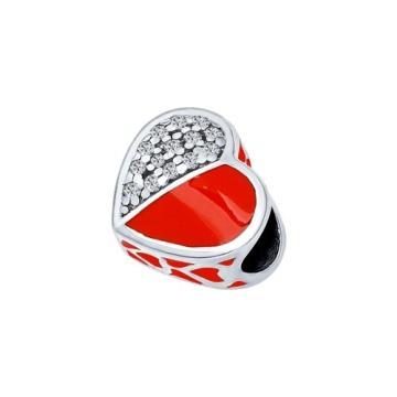 Подвеска-шарм SOKOLOV Сердце из серебра с эмалью и фианитами