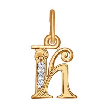 Подвеска буква К из золота с фианитами