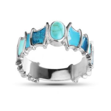 Кольцо из серебра с бирюзой и эмалью