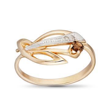 Кольцо из золота с раух-топазом и бриллиантами