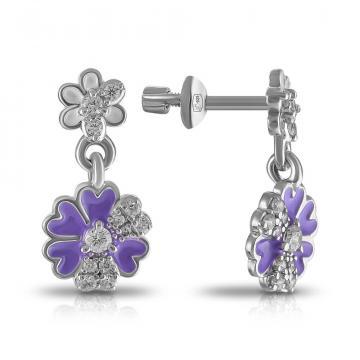 Серьги Цветочки из серебра с эмалью и фианитами