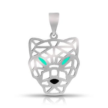 Подвеска Волк из серебра с эмалью