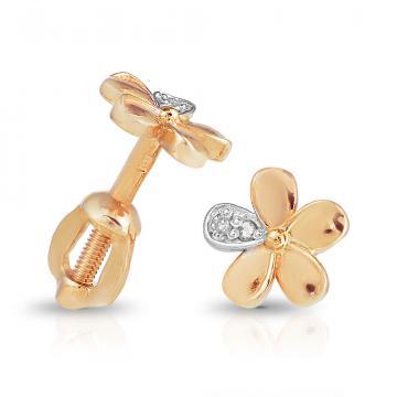 Серьги-пусеты Цветок из золота с бриллиантами