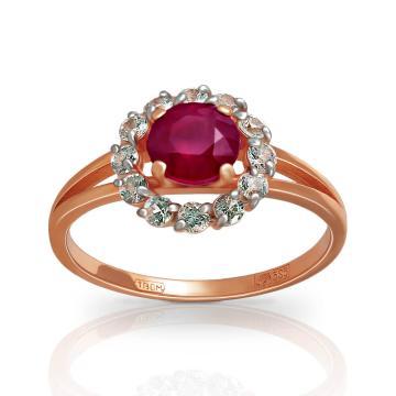 Кольцо из золота с рубином и сапфирами