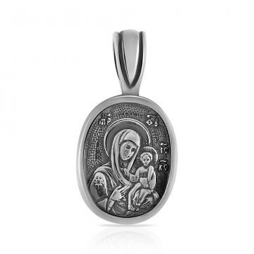 Образ Пресвятой Богородицы «Казанская», подвес-икона из серебра