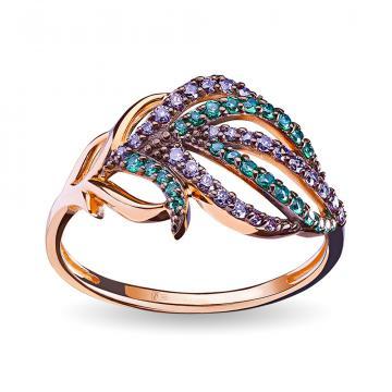 Кольцо Золотые перья из золота с фианитами