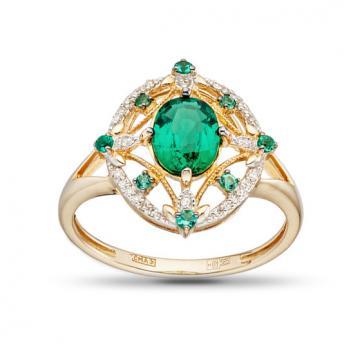 Кольцо с изумрудами и бриллиантами из золота