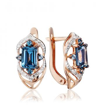 Серьги с лондон топазами и бриллиантами