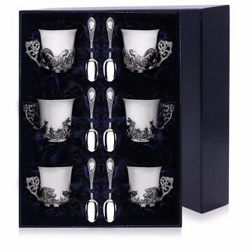 Набор серебряных кофейных чашек Охотничьи с ложками (12 предметов)