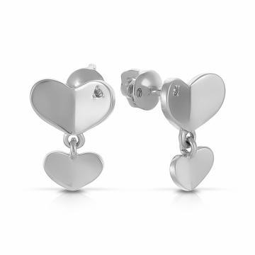 Серьги-пусеты Сердце из серебра с бриллиантами