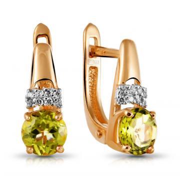 Серьги с хризолитом и фианитами из золота