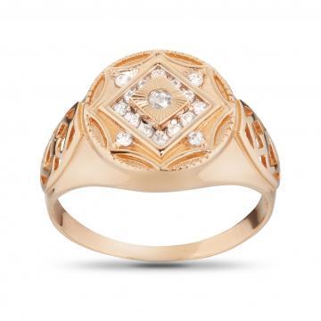 Кольцо-печатка с фианитами и алмазной гранью