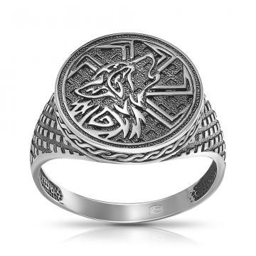 Кольцо-печатка с руной Волк из серебра