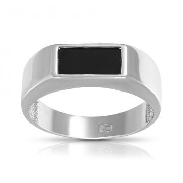 Кольцо-печатка из серебра с агатом