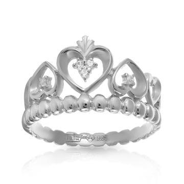 Кольцо Корона из серебра с фианитами