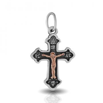 Крестик из золота и серебра, двусплавный