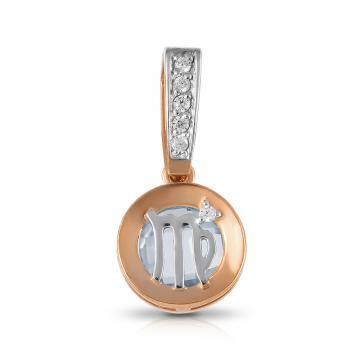 Подвеска из золота с топазом и фианитами, знак зодиака Дева