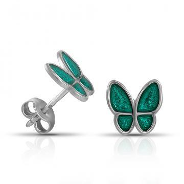 Серьги-пусеты детские Бабочки из серебра с эмалью