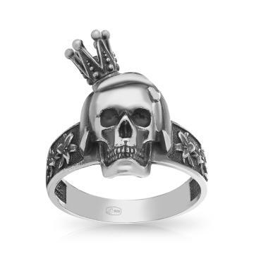 Кольцо Череп из серебра