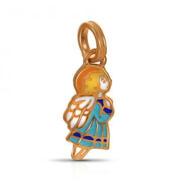 Образок Ангел Хранитель из серебра с эмалью