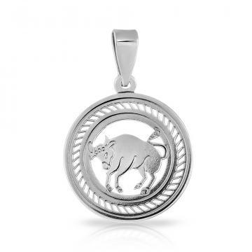 Подвеска из серебра, знак зодиака Телец