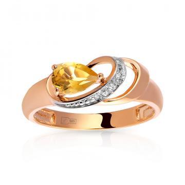 Кольцо с цитрином и фианитами из золота