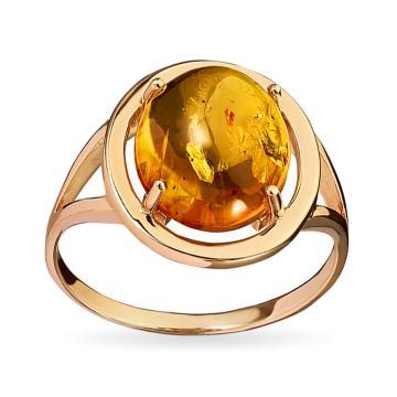 Кольцо из золота с янтарём