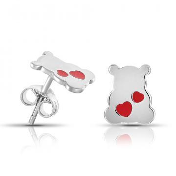 Серьги-пусеты детские Мишки из серебра с эмалью