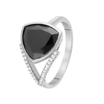 Кольцо из серебра с ониксом и фианитами