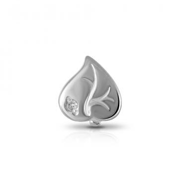 Моно-серьга Лист из серебра с бриллиантом