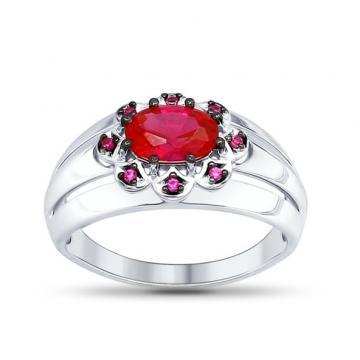 Кольцо SOKOLOV с рубином и фианитами из серебра