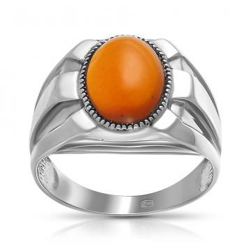 Кольцо-печатка из серебра с янтарем