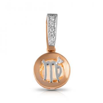 Подвеска из золота с цитрином и фианитами, знак зодиака Дева.