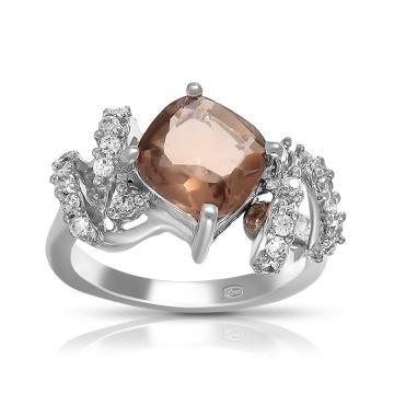 Кольцо из серебра с раух-топазом и фианитами