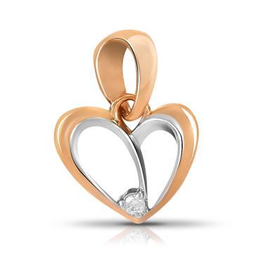 Подвеска Сердце TALANT из золота с фианитом