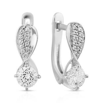 Серьги с кристаллом SWAROVSKI и фианитами из серебра