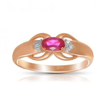 Кольцо из золота с рубином и бриллиантами