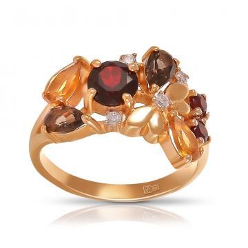 Кольцо из золота с гранатом, цитрином, раух-топазом и фианитами