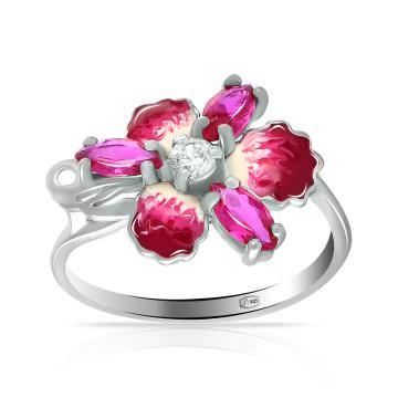Кольцо из серебра с рубином и эмалью