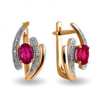 Серьги из золота с рубином и бриллиантами