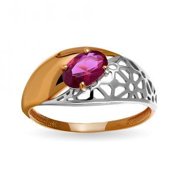 Кольцо с рубеллитом из золота