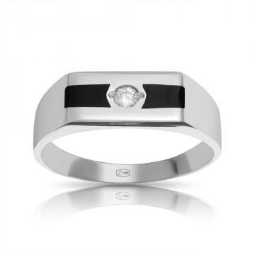 Кольцо-печатка из серебра с фианитом и эмалью