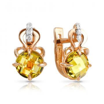 Серьги с хризолитом и бриллиантами из золота