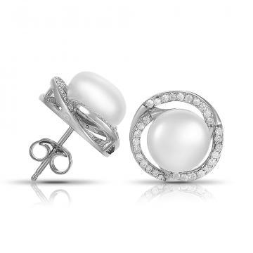 Серьги-пусеты из серебра с жемчугом и фйианитами
